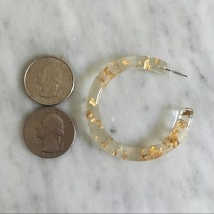 Anthropologie Jewelry - Anthropologie gold lucite clear hoops earrings